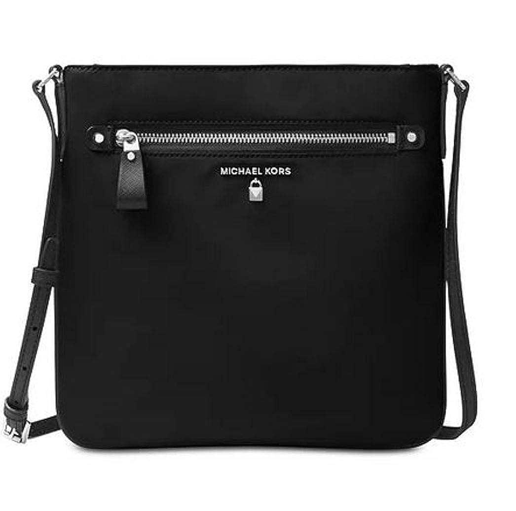 Michael Kors Women's Large Kelsey Nylon Crossbody Cross Body Bag B07DRMXVRZ Black/Silver Hardware