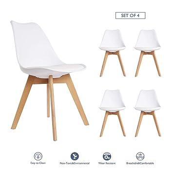 Happy Home 4er Set Esszimmerstühle Mit Holzbeinen Und Gepolstertes Pad Modernes  Design Für Büro Lounge Küche