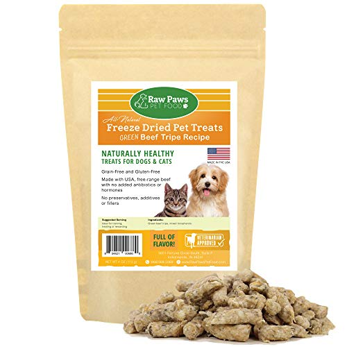 Raw Paws Pet Premium Raw Freeze Dried Green Tripe Treats For Dogs & Cats, 4-Ounce - All Natural Pet Snacks - Grass Fed Beef - Made In Usa Only - Grain, Gluten & Wheat Free ()
