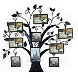 "Adeco Brown Black Decorative 9 Opening Collage Bronze Bronze Iron Metal Wall Hanging Family Tree Picture Photo Frame, 9 Opening, 4x6"" 4x4"""