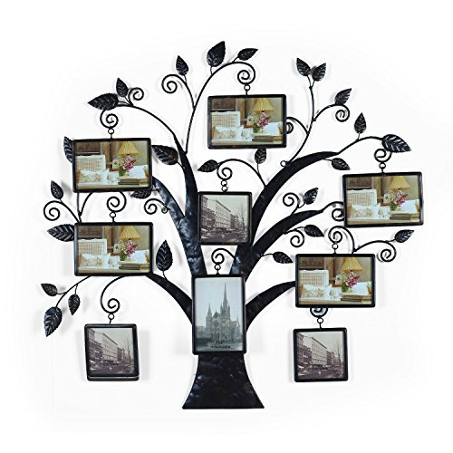 Adeco 9 Openings Decorative Black Metal Large Family Tree Picture Photo Frame - Made to Display Six 4x6 and Three 4x4 Photos