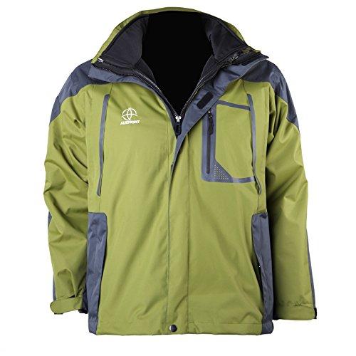sunnyluck Double Skin Beheizte Jacke Coat Akku schnurlose verstellbar wasserfest grün