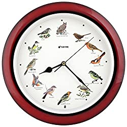 JUSTIME Lovely Collection 14-inch Plays 12 Popular North American Bird's Songs Wall Clock Mantel Clock Home Deco Multicolor(TCBD-002-1 Dark Red)