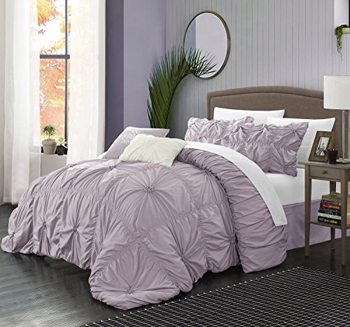 (Perfect Home 6 Piece Ramanda Floral Pinch Pleat Ruffled Designer Embellished Comforter Set, King, Lavender)
