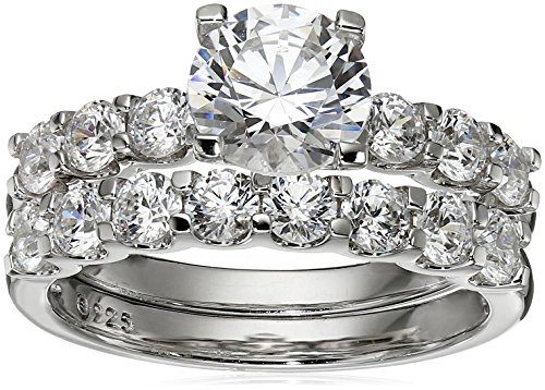 Platinum-Plated Sterling Silver Swarovski Zirconia Round Cut Ring Set, Size 6