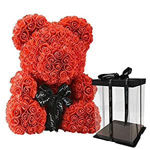 "Escolourful Rose Bear Teddy Bear Cub Forever Artificial Rose Anniversary Birthday Valentines Gift(9"" One Bear + Acrylic Box) 116"