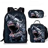 HUGS IDEA 3D Shark Backpack Cool Animal Kids Bookbag Lunch Bag Pen Case Back to School