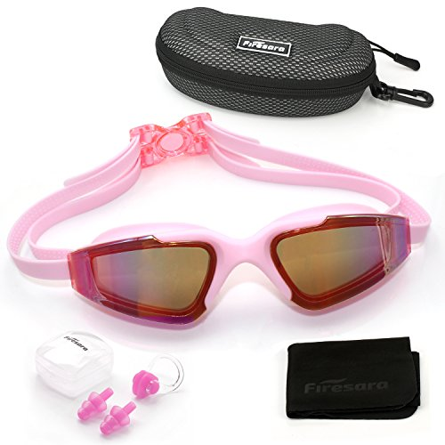 Swim Goggles, Firesara Swimming Goggles Tinted Lens Large Frame Anti Fog Cool Design Clear Vision No Leaking UV Protection with Protection Case& Ear Plugs for Adult Men Women Youth Kids - Colored Cool Glasses
