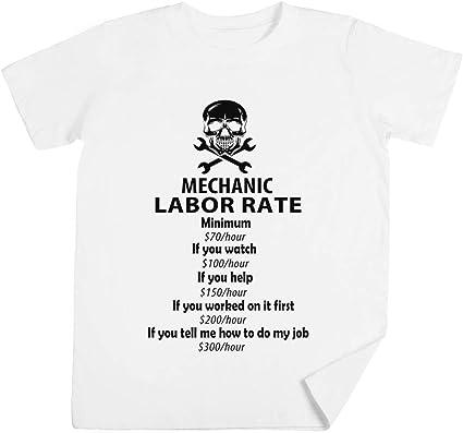 Mecánico Labor Tarifa Niños Unisexo Chicos Chicas Blanco Camiseta Kids Unisex T-Shirt: Amazon.es: Ropa y accesorios