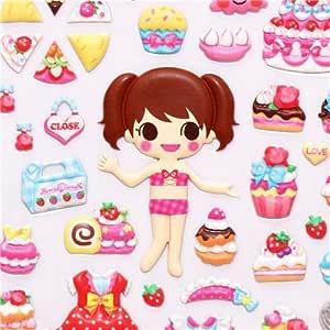 Pegatinas blandas muñeca de vestir panadería pastelería