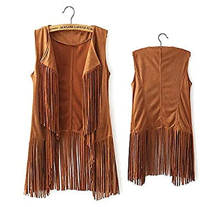 Hippie Women/'s Sleeveless Collar Fringe Vest Outerwear Shawl Faux Suede Overcoat