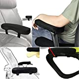 PROKTH Ergonomic Memory Foam Elbow Pillow Chair Armrest Pad, 1 Pair Office Removable Chair Arm Covers/Arm Computer Pads, Work Station Desk Chair Arm Pad Cushions for Elbow Relief Black (Style_B)