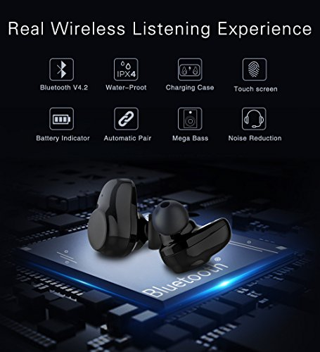 True Wireless Earbuds Langsdom X7 Mini Bluetooth 4.2 Headphones In-Ear Noise Isolating Earphones with Mic Smart Touch Control and Portable Charging Box for iPhone Samsung and More by Langsdom (Image #1)