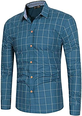 Sportides Men's Casual Long Sleeve Plaid Button Down Check Shirts Tops JZA102