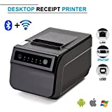 Thermal Receipt Printer,Standard USB 80mm POS Thermal Printer 300mm/second High-speed Printing with ESC / POS Printing Instruction Set,Bluetooth-Wifi(Optional) (With Bluetooth&Wifi)