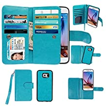 Samsung Galaxy S6 Case, xhorizon TM Premium Leather Folio Case [Wallet Function] [Magnetic Detachable] Fashion Wristlet Lanyard Hand Strap Purse Soft Flip Book Style Multiple Card Slots Cash Compartment Pocket with Magnetic Closure Case Cover Skin ZA5 for Samsung Galaxy S6 (G9200) - Blue