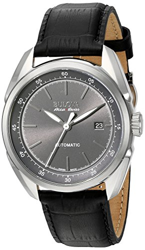 Bulova Men's Stainless Steel and Black Leather Automatic Watch (Model: 63B188)