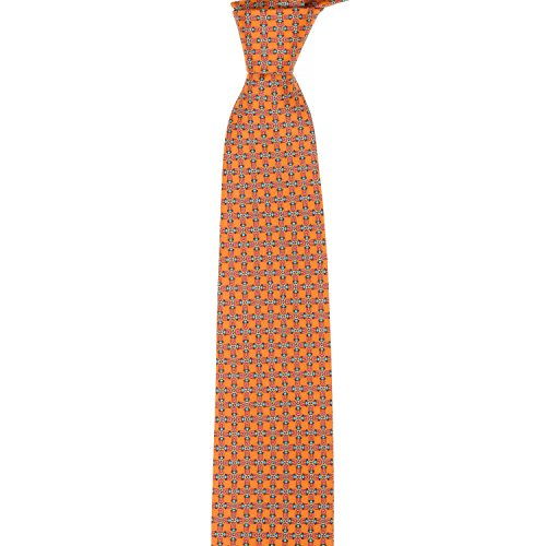 Marmo Di Carrara Chain Link Silk Necktie - Orange (Chain Silk Necktie)