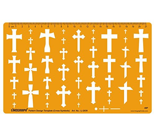 Cross Crosses Template Shapes Symbols Drawing Drafting Template Stencil - Jewellery Pattern Design by LINOGRAPH
