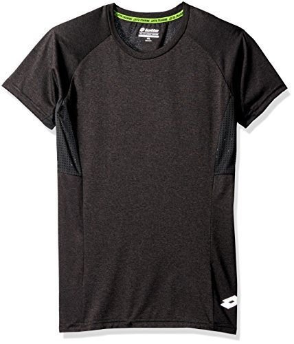 Lotto Boys Slim Size Spacedyed Ss Active Tee, Black, XL