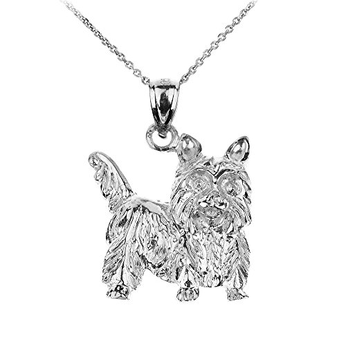Polished 925 Sterling Silver Yorkshire Terrier Dog Charm Pendant Necklace, 18""