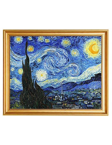 - Eliteart- Starry Night by Vincent Van Gogh Oil Painting Reproduction Giclee Wall Art Canvas Prints-Framed Size:19