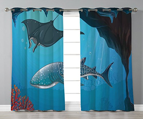 Thermal Insulated Blackout Grommet Window Curtains,Sea Animal Decor,Shark Deep Water Stingray with Coral Reefs Algae Rocky Cave Exotic Cartoon,Blue Grey,2 Panel Set Window Drapes,for Living Room Bedro -