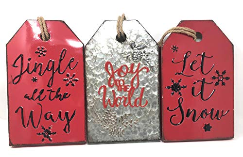 Wall Plaque Holiday - Hanna's Handiworks Set of 3 Red and Silver Winter Holiday Wall Decoration Plaques Metal Signs Tag Wall Hanger