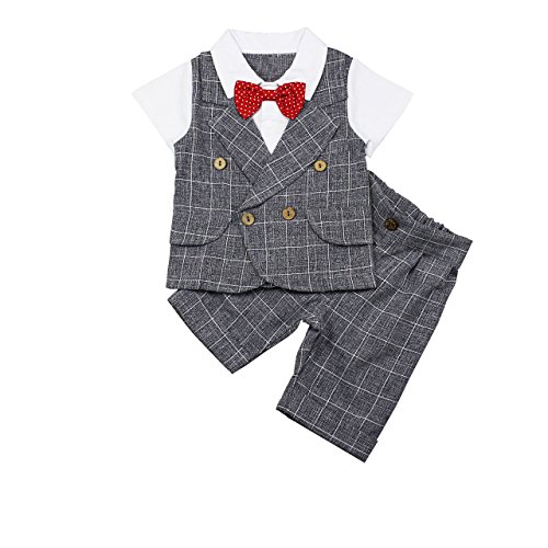 Baby Boy Outfit, 2pcs Kids Gentleman Short Sleeve Suit Set with Plaid Shorts Pants & Bowtie -