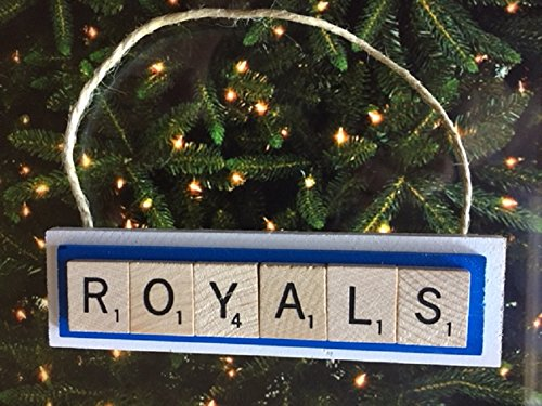handmade ornament made with actual scrabble tiles on real wood painted with team colors scrabble til - Royals Christmas Ornament