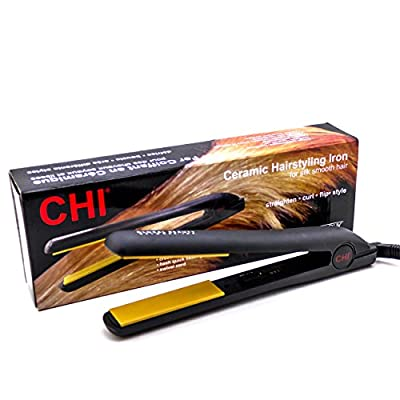CHI Original Flat Iron Hair Straightener Ceramic Ionic Tourmaline Hairstyling Iron 1 Inch Black