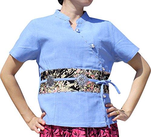 Thai Cotton Ladies Shirts (Raan Pah Muang RaanPahMuang Little Thai Cotton Chinese Silk Art and Emblem Ladies Kimono Shirt, Medium, Sky Blue)