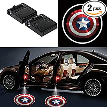 2 x Wireless car door LED Wonder Woman logo ghost welcome light laser projector