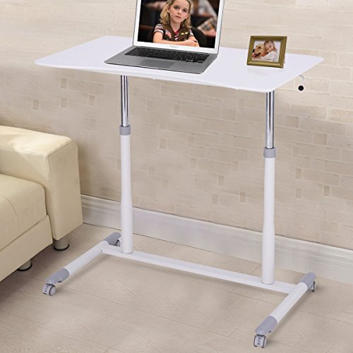 Tangkula Computer Desk Home Office Dorm Rolling Wooden Top Height Adjustable Sit-to-Stand Desk Portable Writing Study Table Notebook Laptop Desk (White 001) (Workstation Stand Adjustable Mobile)