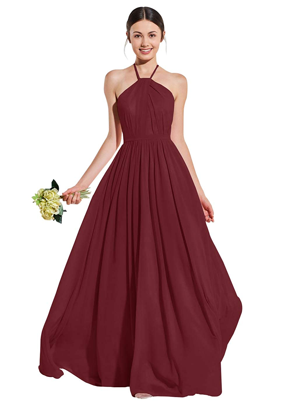 Womens A Line Halter Open Back Ruched Chiffon Bridesmaid Dress Long Formal Evening Gown