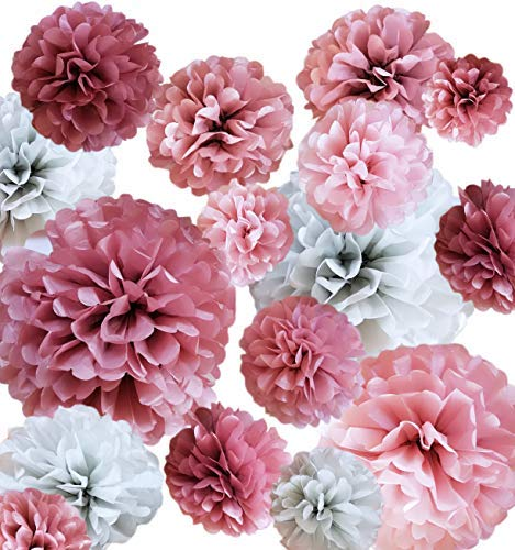 VINANT 20 PCS Tissue Paper Pom Poms - Paper Flower - Party Decoration for Birthday Party - Baby Shower - Bridal Shower - Wedding - Bachelorette - Dusty Rose, Mauve, Blush Pink, Grey - 14