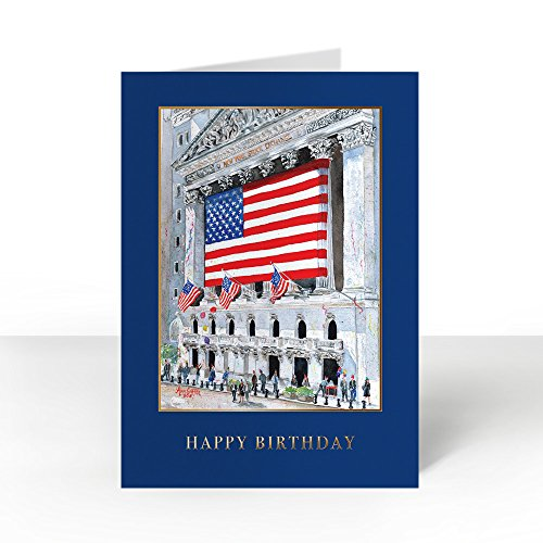 Pack of 25 Wall Street Greetings Premium Confetti on Wall Street 5x7 fold over Greeting card with 25 Ivory Peel & Seal gold foil lined envelopes (Ivory Envelopes Foil Gold)