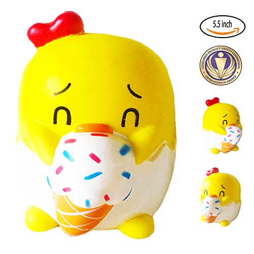 Dialeesi Squishy Toys Slow Rising Cream Scented Decompression Squeeze Soft Stress Relief Decorations for Kids and Adults Chick Chicken by