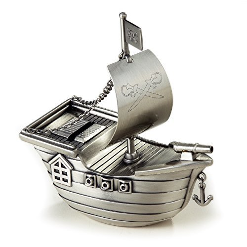 Elegance Silver Pewter Finish Pirate Ship Money Bank by Elegance Silver