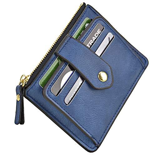 - Minimalist Slim Magnetic Front Back Pocket Money Wallet Small Credit Card Holder RFID Blocking (Navy Blue)