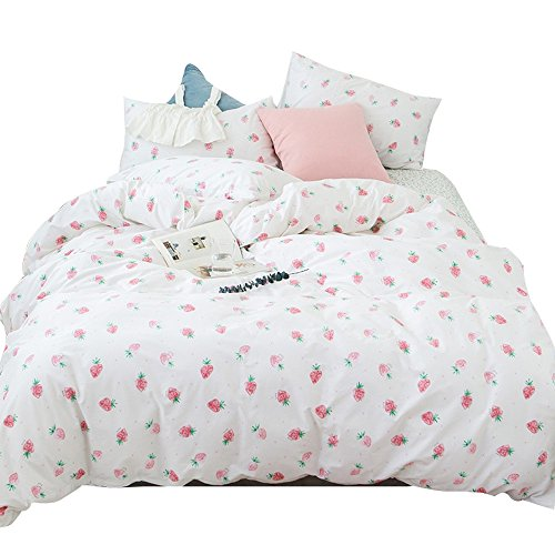 Girls Bt Kids 3 Piece - ORoa Fruit Strawberry 100% Cotton Soft Bedding Set 3 Pieces Kids Bedding Duvet Cover Pillowcases Best Bedding for Kids (Twin, Strawberry)