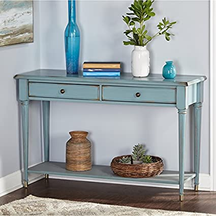 amazon com simple living emilia blue wood mdf sofa table kitchen rh amazon com simple sofa table Couch Table Plans