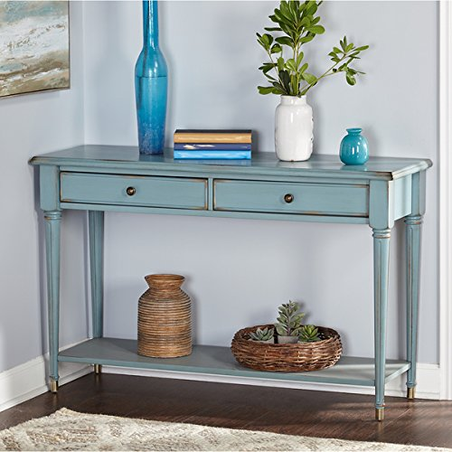 amazon com simple living emilia blue wood mdf sofa table kitchen rh amazon com blue sofa table lamps navy blue sofa table