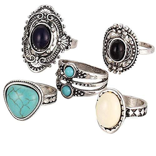 F-blue Vintage Alloy Black White Calaite Gemstone Hollow Pattern Rings Women Exquisite Jewelry Set 5pcs