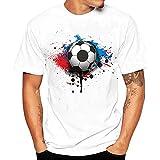 Huitian23 Men Tees Shirt Football Print Short Sleeve T Shirt Blouse White