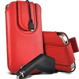 Nokia Lumia 635 premium protección PU botón magnético ficha de extracción Slip espinal en bolsa de la cubierta de piel de bolsillo rápido con 12v USB Micro en cargador del coche rojo por Spyrox
