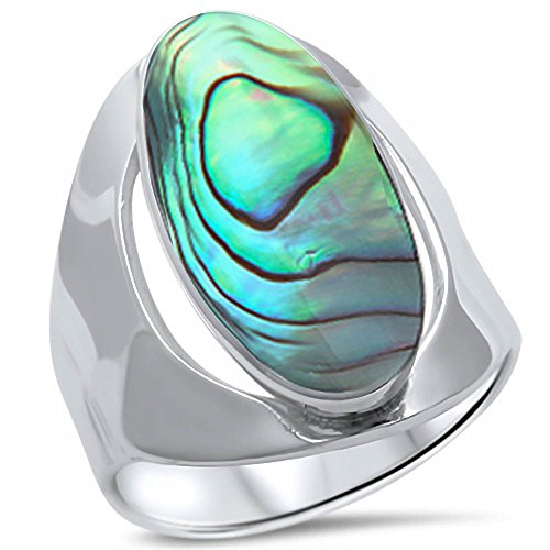- Oxford Diamond Co Natural Stimulated Abalone Shell .925 Sterling Silver Ring Size 11