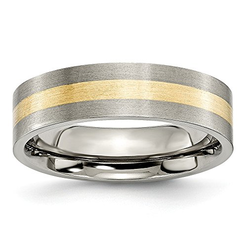 Size 11.5 - Titanium Flat 14k Yellow Inlay 6mm Brushed Wedding Band by Sonia Jewels