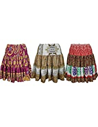 Lot Of 3 Womens Ruffle Sexy Skirt Recycled Silk Full Flare Mystical Holiday Summer Skirts