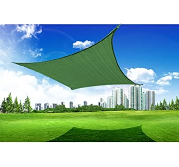 Outsunny Square Outdoor Patio Sun Shade Sail Canopy, 16.5 Feet, Green